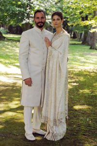 GENEVA, SWITZERLAND - AUGUST 31: In this handout photo provided by The Ismaili, Prince Rahim Aga Khan and Miss Kendra Salwa Spears pose together during their wedding ceremony on August 31, 2013 in Geneva, Switzerland. (Photo by Gary Otte/The Ismaili via Getty Images)